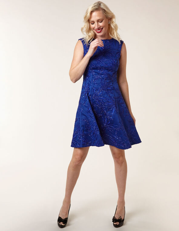 Sapphire Sequin Fit & Flare Dress, Royal Bl, hi-res