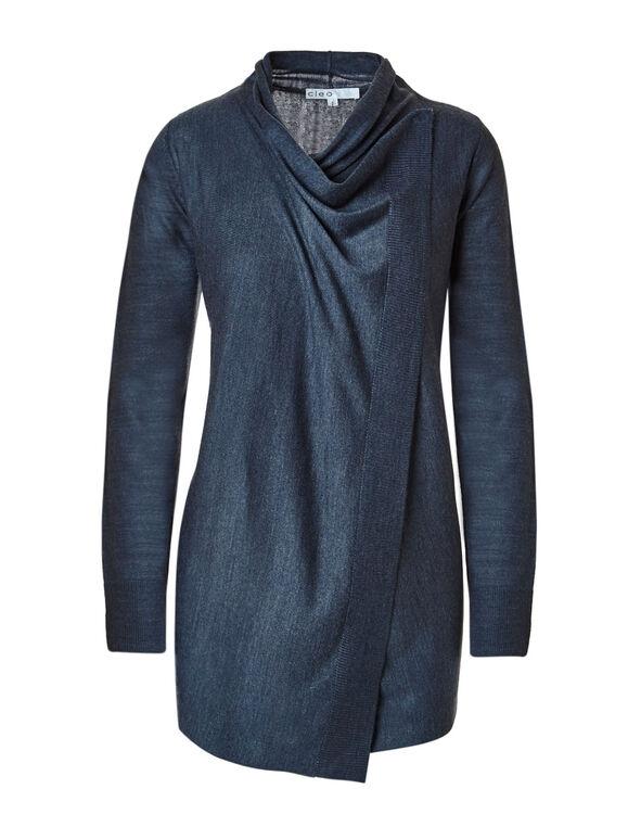Smoky Blue Wrap Sweater, Smoky Blue, hi-res