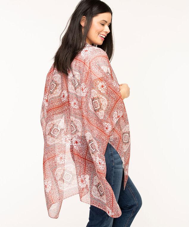 Scarf Print Open Kimono, Dark Coral/Ivory