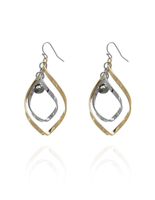 Tri-Tone Spiral Earring, Silver/Gold/Hemi, hi-res