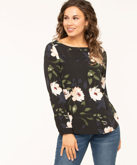 Navy Floral Boatneck Blouse, Navy/Black/Ivory, hi-res