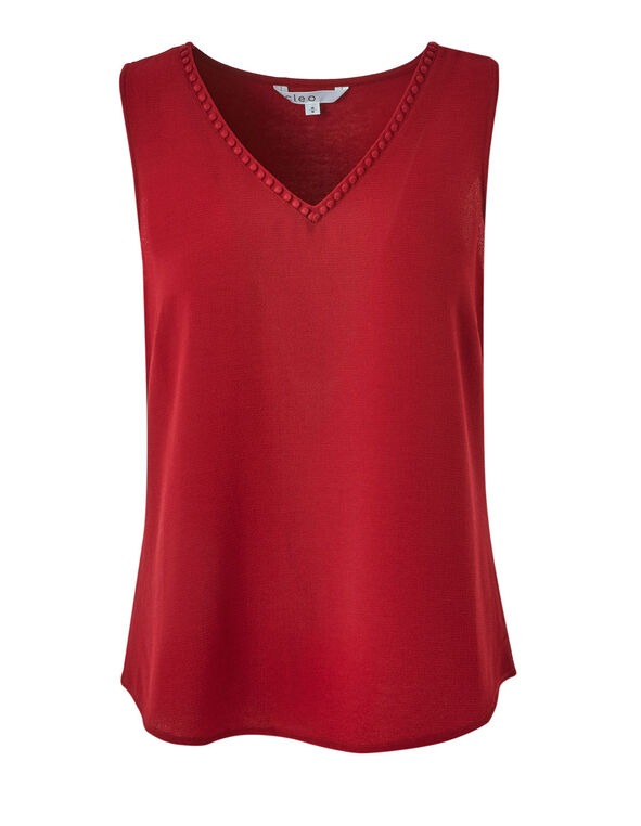 Red Crepe Front Top, Red, hi-res