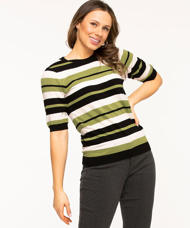 Gathered Sleeve Crew Neck Sweater, White/Black/Green Stripe