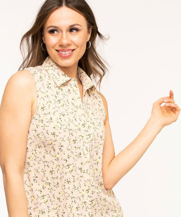 Sleeveless Collared Button Front Blouse, Tan Floral