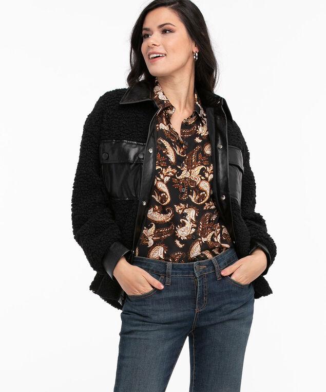 Vegan Leather Trim Teddy Fleece Jacket, Black