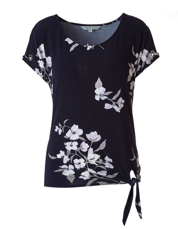 Tie Hem Top, Navy, hi-res