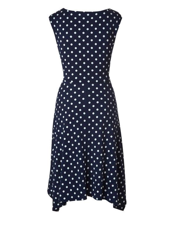 Navy Polka Dot Tie Front Dress, Navy, hi-res