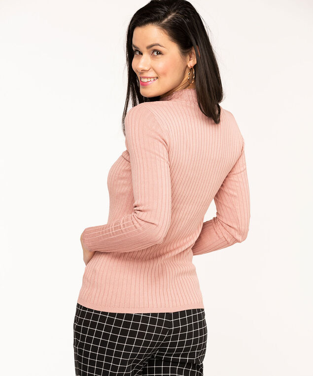 Ribbed Mock Neck Essential Sweater, Ballet Pink