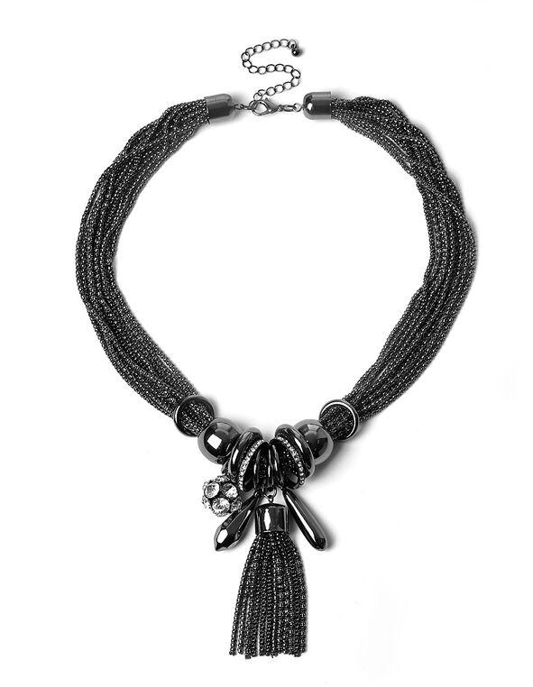 Hematite Charm Statement Necklace, Hematite, hi-res