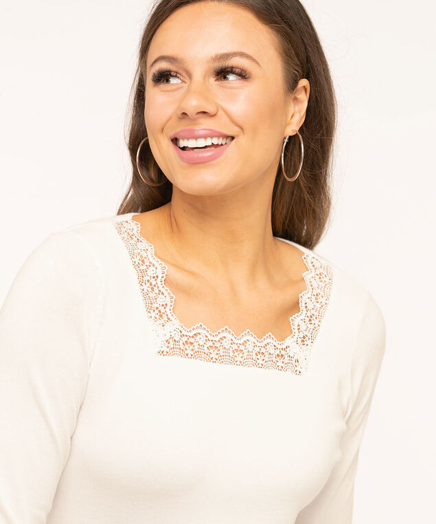 Lace Square Neck Sweater, Ivory, hi-res