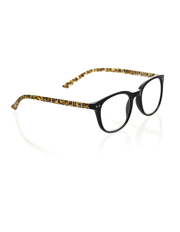 Black Leopard Reader Glasses, Black, hi-res