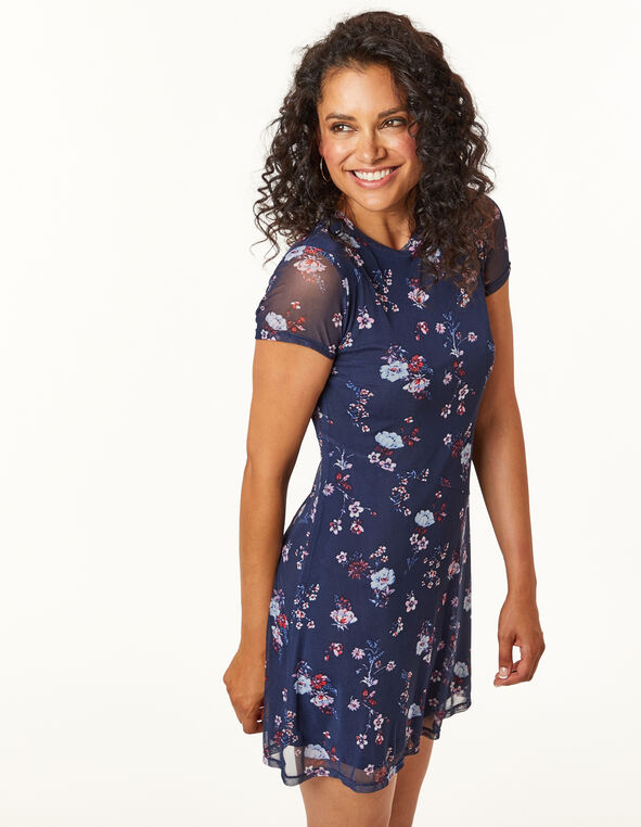 Navy Floral Dress, Navy, hi-res