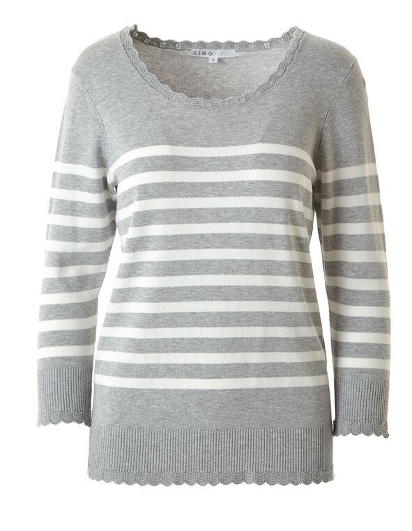 Grey Print Scallop Edge Sweater, Grey, hi-res