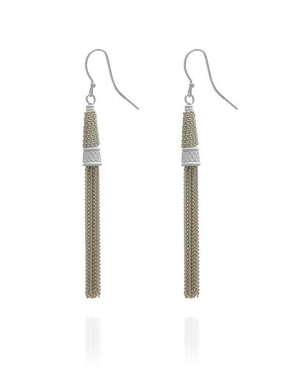 White Painted Tassel Earring, White, hi-res