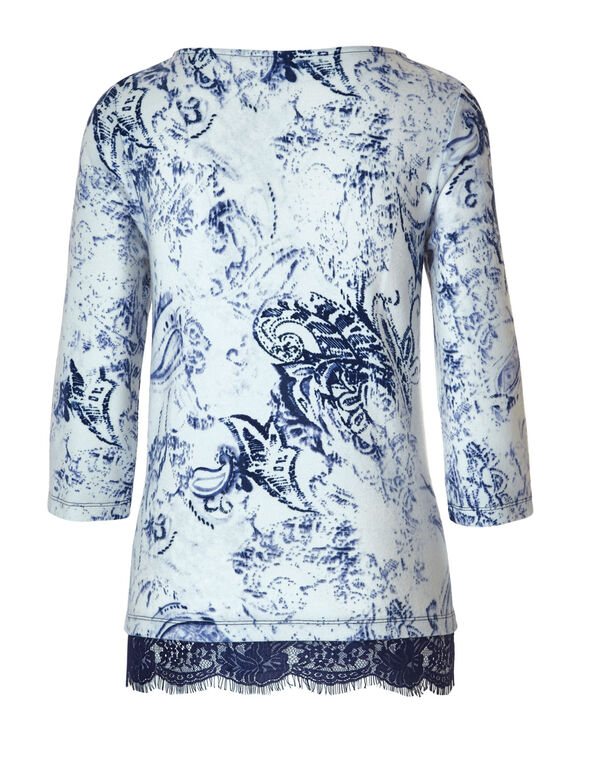 Navy Paisley Hacchi Top, White/Navy, hi-res
