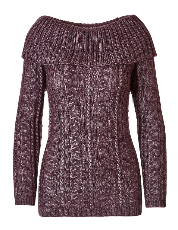 Plum Marilyn Novelty Stitch Sweater, Plum, hi-res