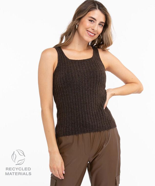 Recycled Ribbed Sleeveless Sweater, Walnut Mix
