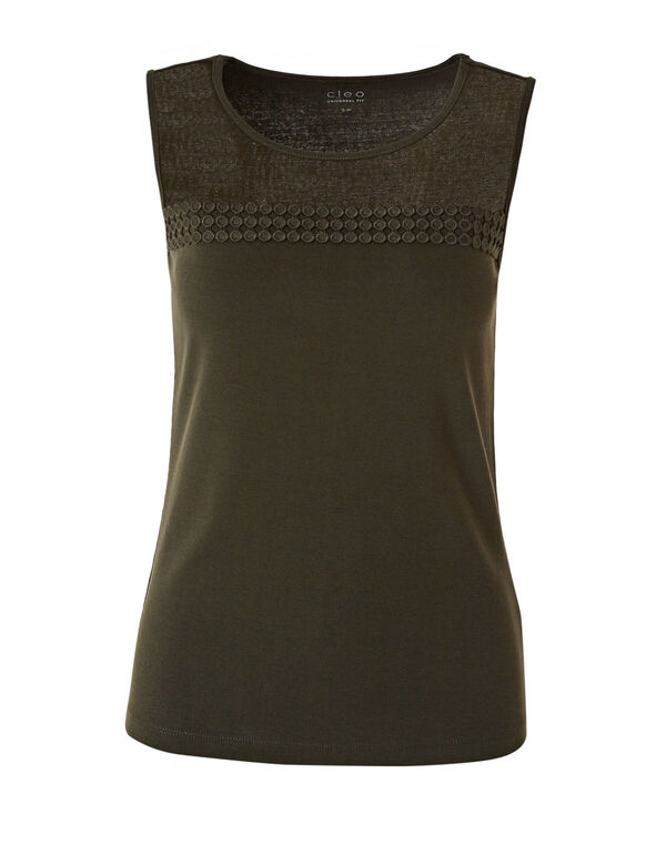 Green Mesh Front Sleeveless Tee, Dark Green, hi-res