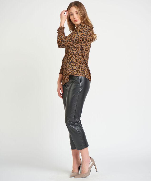 Dex Black Tape 3/4-Sleeve Blouse, Leopard
