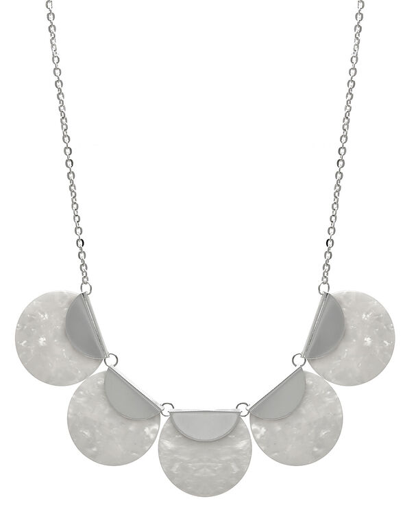 Pearl Resin Short Statement Necklace, White/Silver, hi-res