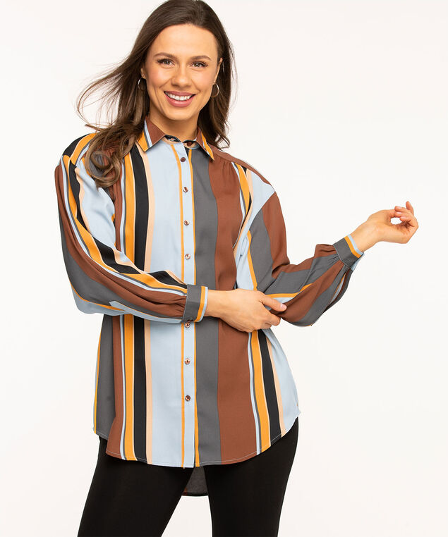Striped Button Front Tunic Blouse, Copper/Gold/Blue Stripe