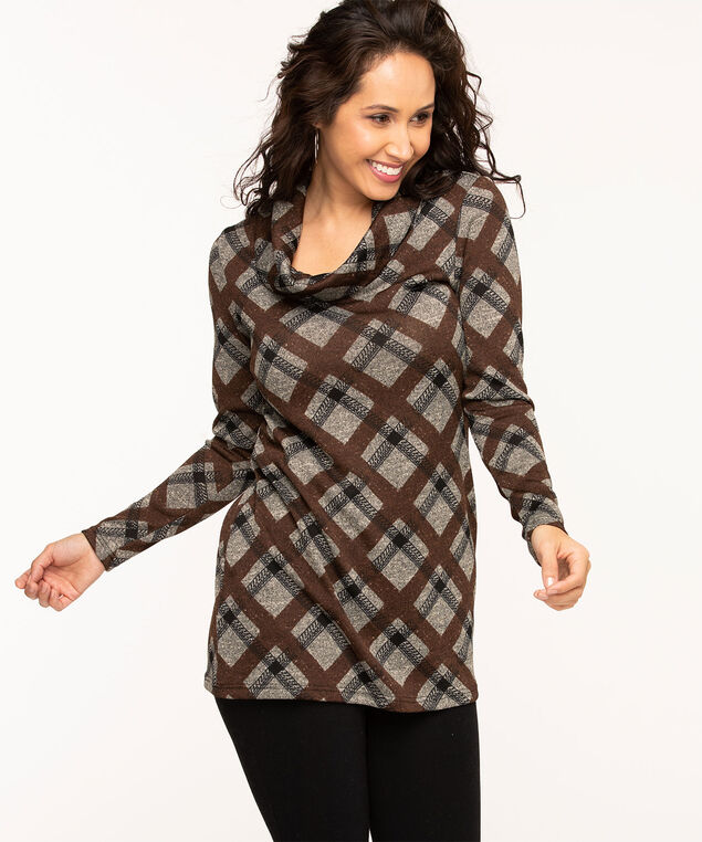 Argyle Plaid Cowl Neck Tunic Top, Brown/Grey/Black