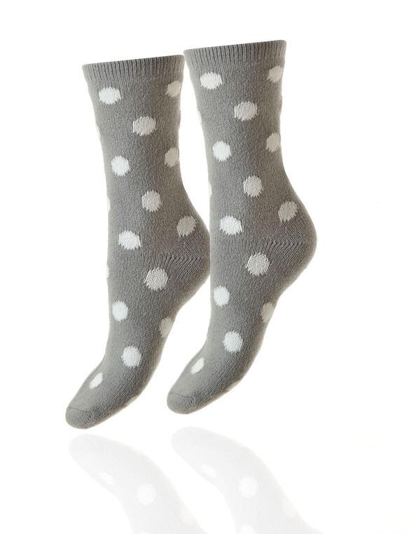 2 Pair Winter Pink and Grey Plush Sock, Pink, hi-res