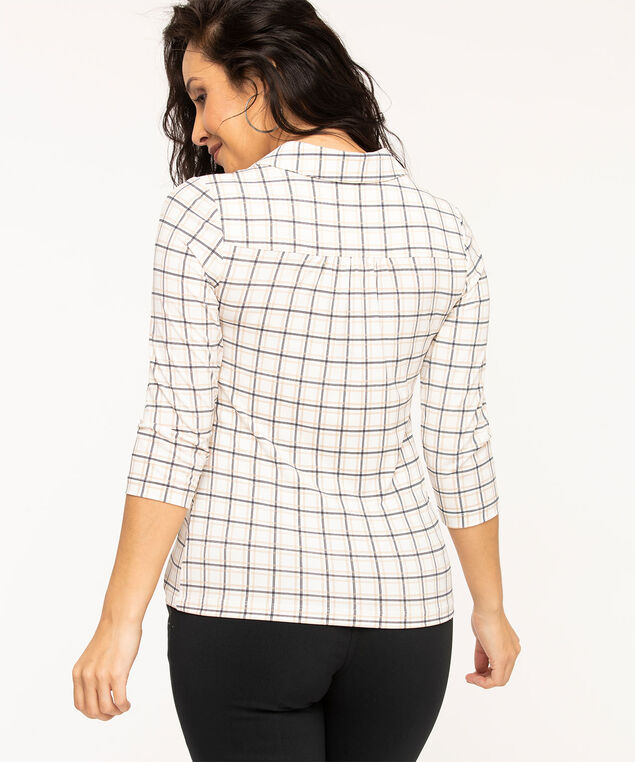 Collared 3/4 Sleeve Popover Top, Ivory Plaid