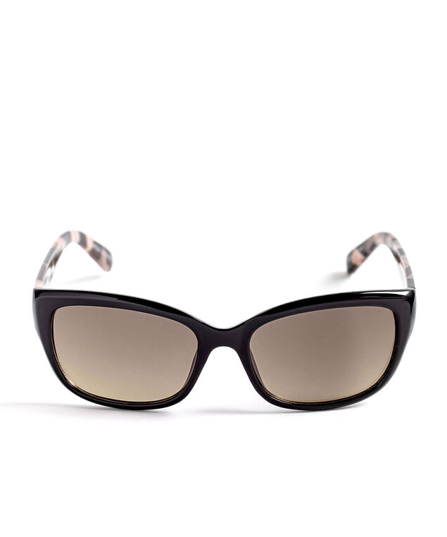 Black Mosaic Arm Small Sunglasses, Black/Pink