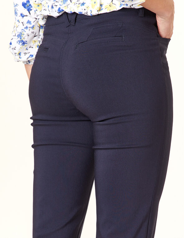 Navy Button Butt Lift Slim Pant, Navy