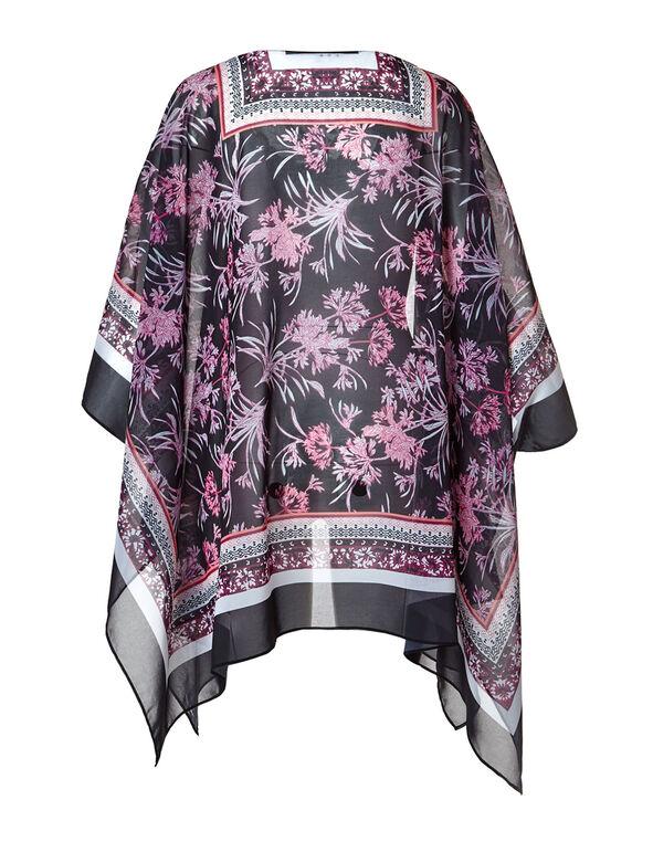 Purple Tropical Floral Print Kimono, Purple, hi-res