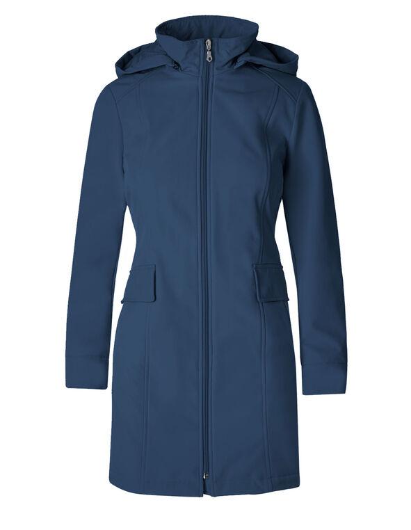 Deep Blue Softshell Hooded Jacket, Deep Blue, hi-res