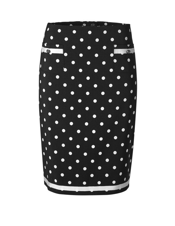 Black Polka Dot Pencil Skirt, Black, hi-res