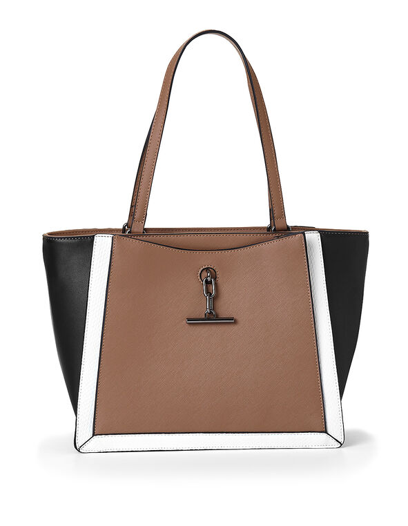 Brown Colour Block Handbag, Brown, hi-res