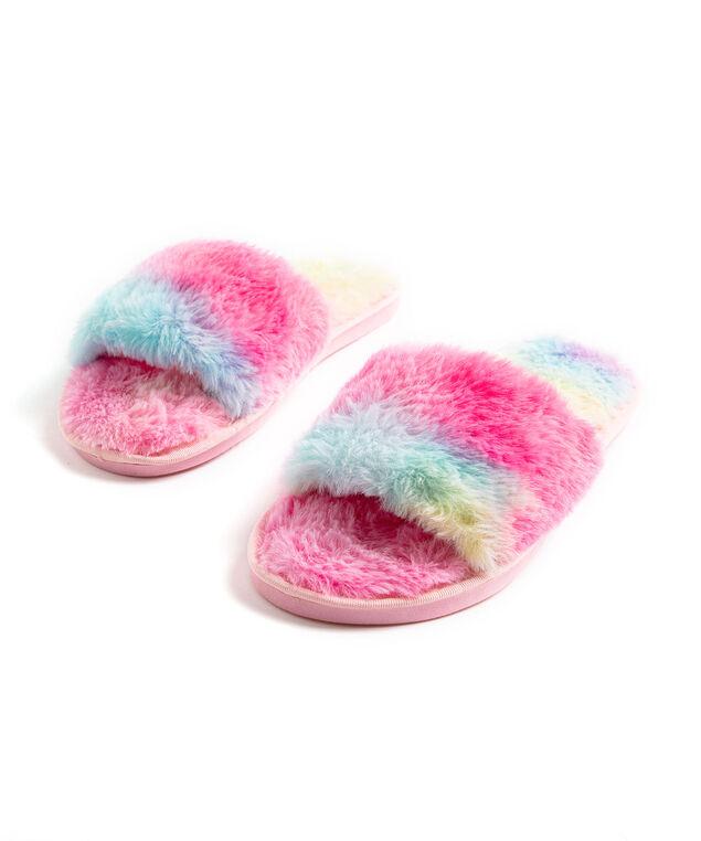 Tie-Dye Plush Slipper, Pink/Blue/Yellow