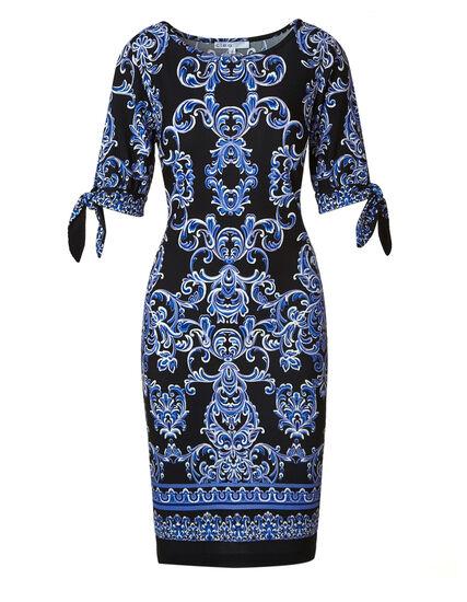 Black Printed Tie Sleeve Dress, Black/Cobalt, hi-res