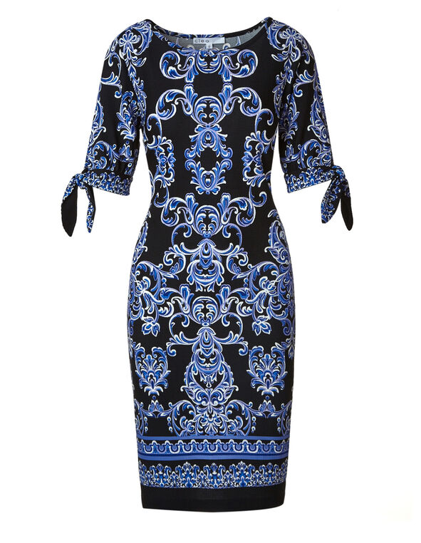 Black Printed Tie Sleeve Dress, Black/Cobalt, hi-res