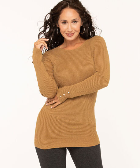 Button Trim Tunic Sweater, Camel, hi-res