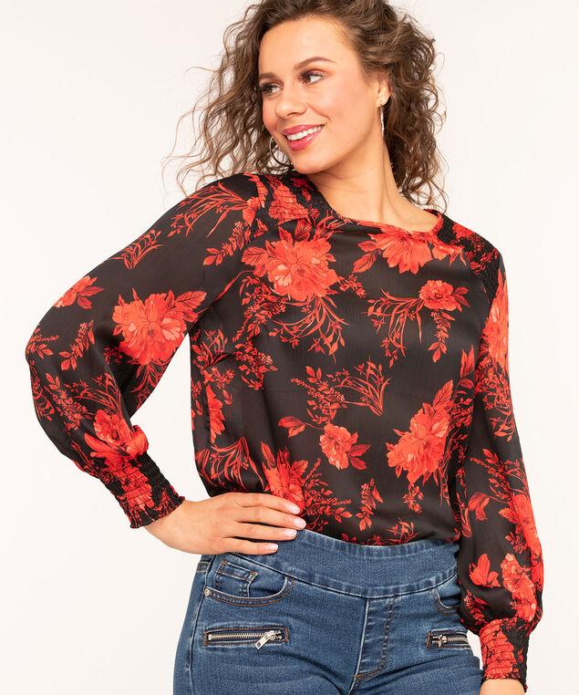 Ruby Floral Smocked Blouse, Red/Black, hi-res
