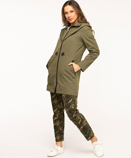 Olive Hooded Zip Front Anorak, Olive, hi-res