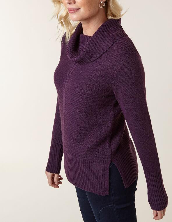 Dark Purple Rib Stitch Sweater, Dark Purple, hi-res