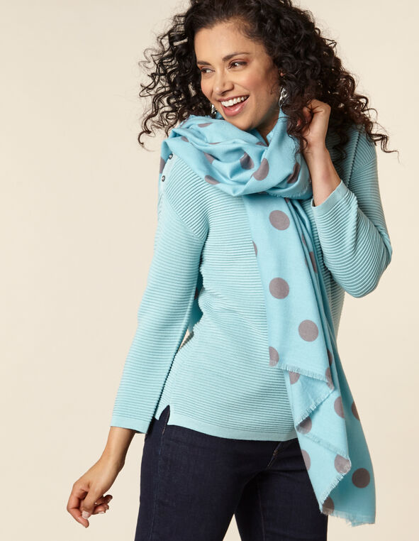 Grey Polka Dot Blue Scarf, Light Blue/Mid Grey, hi-res