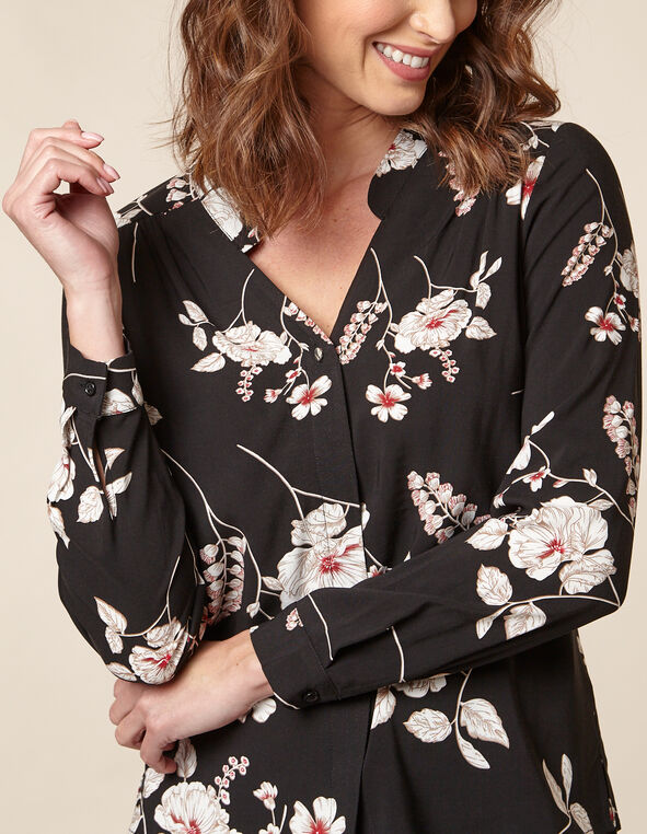 Black Floral Button Front Blouse, Black, hi-res