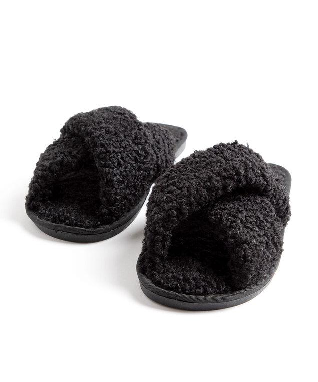 Crisscross Sherpa Slippers, Black