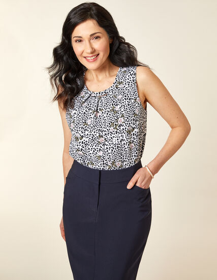 White Cheetah Crepe Top, White/Black, hi-res
