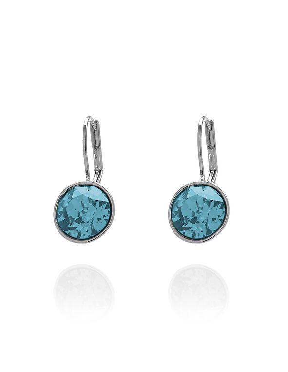 Aqua Genuine Crystal Earring, Blue, hi-res