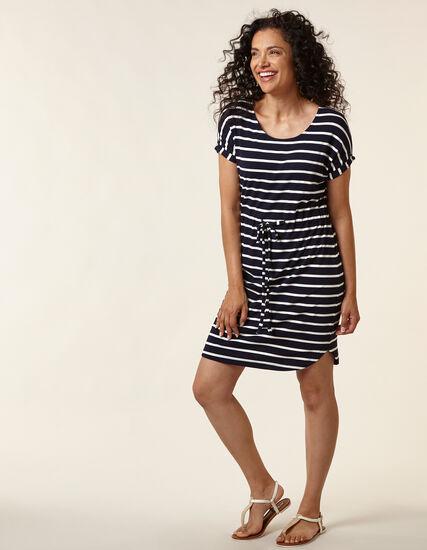 Navy Striped T-Shirt Dress, Navy/White, hi-res