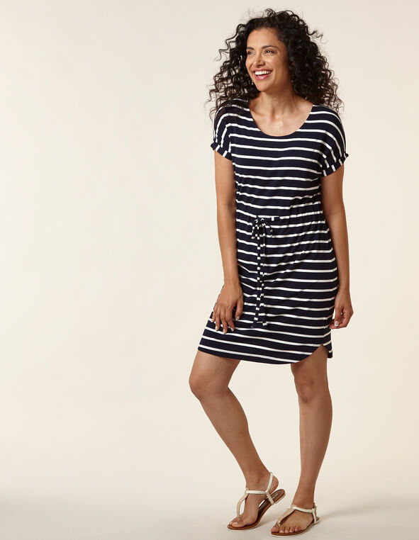 Navy Striped T-Shirt Dress, Navy/White, hi-res
