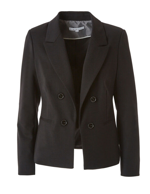 Black Open Styled Blazer, Black, hi-res