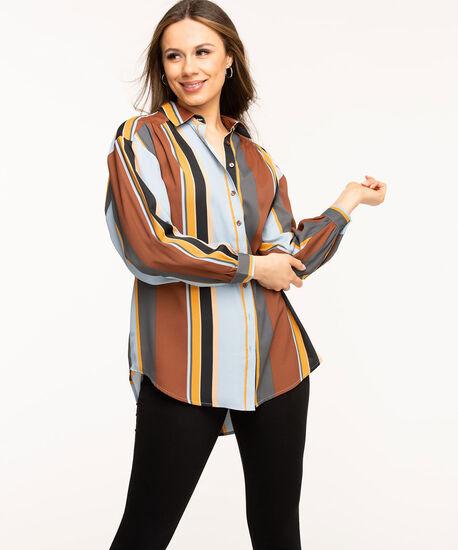 Striped Button Front Tunic Blouse, Copper/Gold/Blue Stripe, hi-res